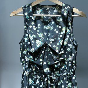 Floral print black summer dress with Pockets
